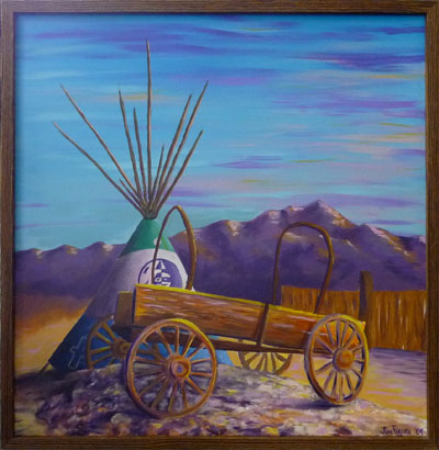 painting of Riverbend's Teepee & wagon