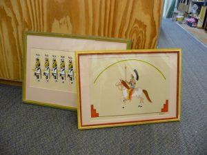 2 original drawings Native American