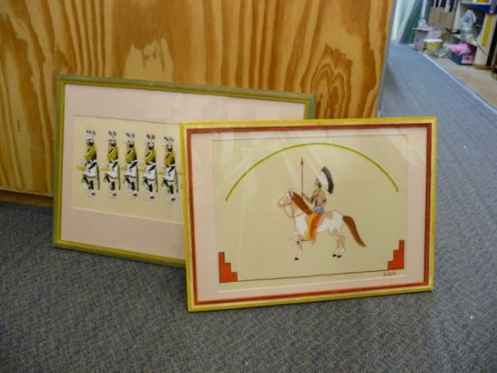 2 original drawings Native American