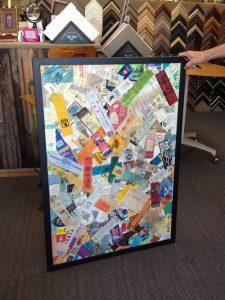 Richard's framed collage made of bookmarks