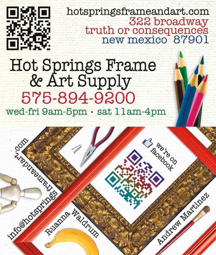 new business cards for Hot Springs Frame & Art Supply in Truth or Consequences New Mexico