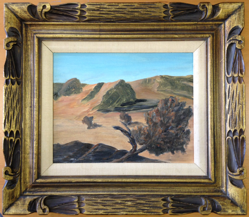 landscape painting by Susan Todd, set off by a premade frame