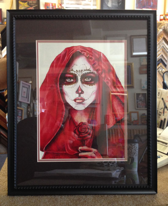 framed drawing - Day of the Dead girl in a Red Hood framed by Hot Springs Frame & Art Supply