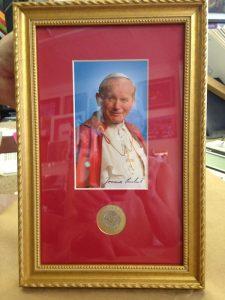 framed photo of Pope John Paul II