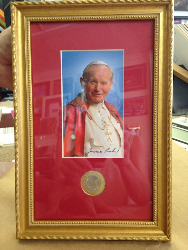 framed photo of Pope John Paul II