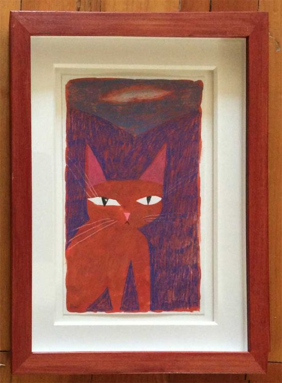 framed cat painting by Peter Bowles