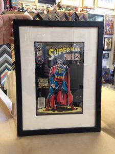 framed vintage comic book