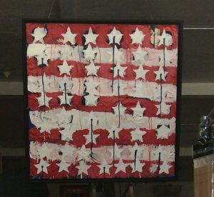 bleeding stars and stripes painting by Andrew Martinez