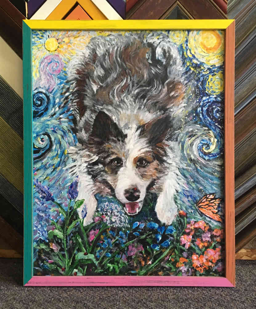 painting of Dave's dog Mogwai by Marilyn Sahs
